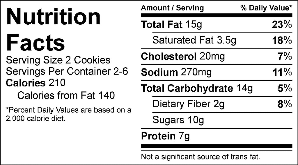 peanut butter cookie nutrition facts