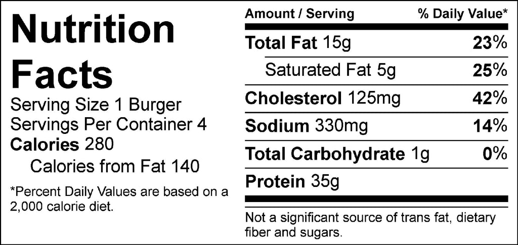 pure protein buffalo ranch turkey burger nutrition facts