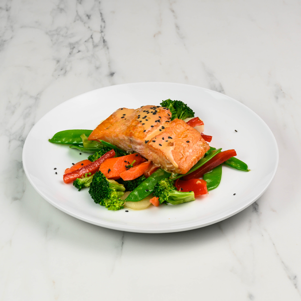 asian salmon plated