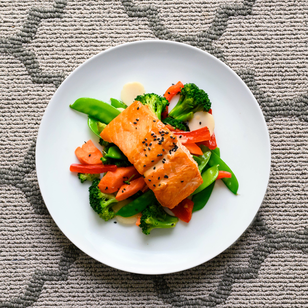 asian salmon plated overhead