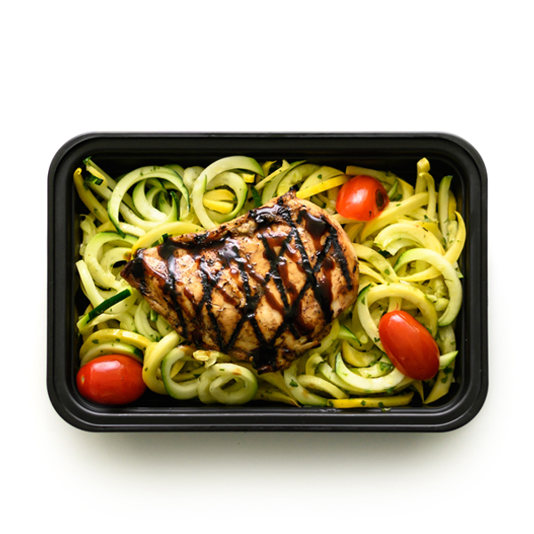 balsamic chicken and zoodles packaged overhead