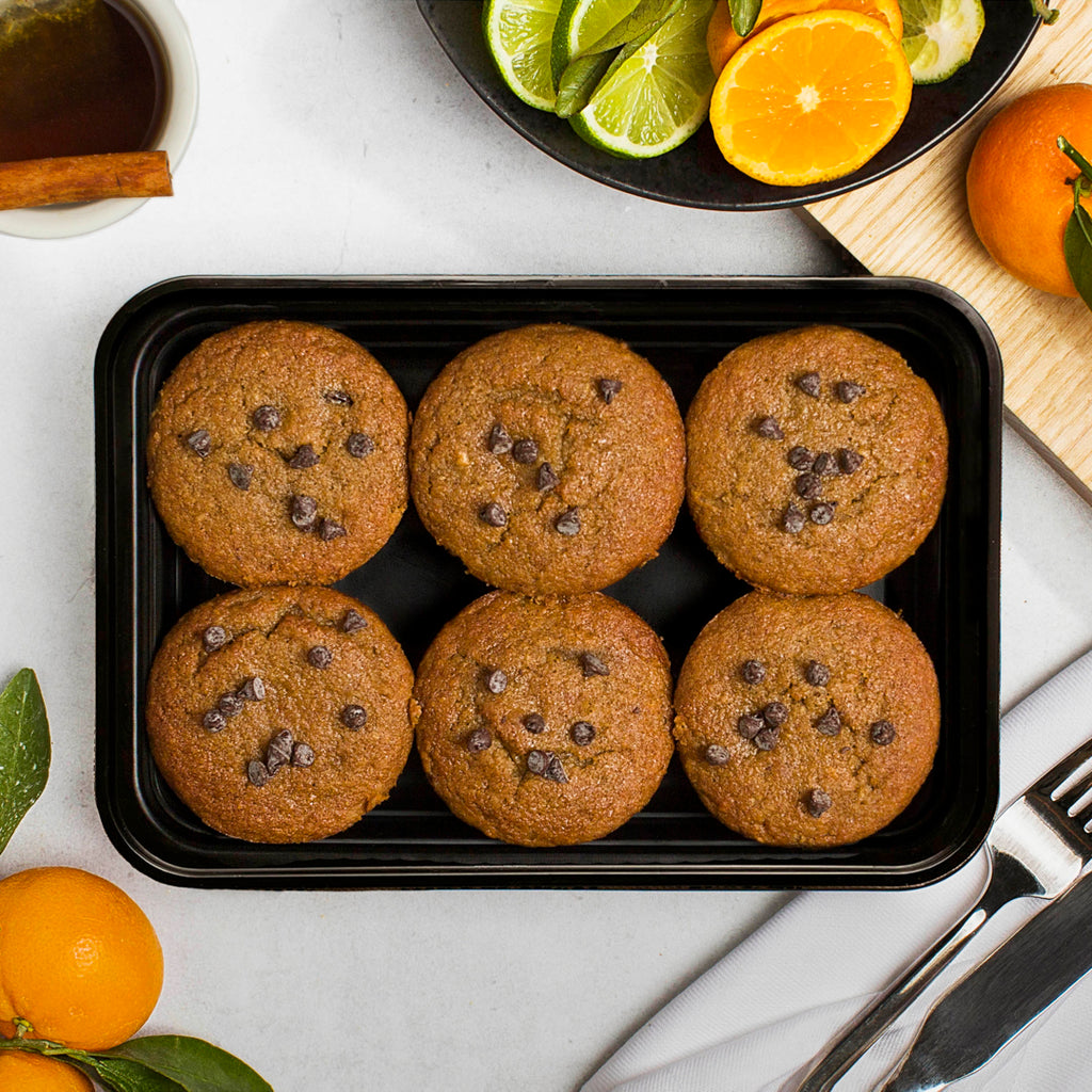 banana chocolate chip muffins overhead