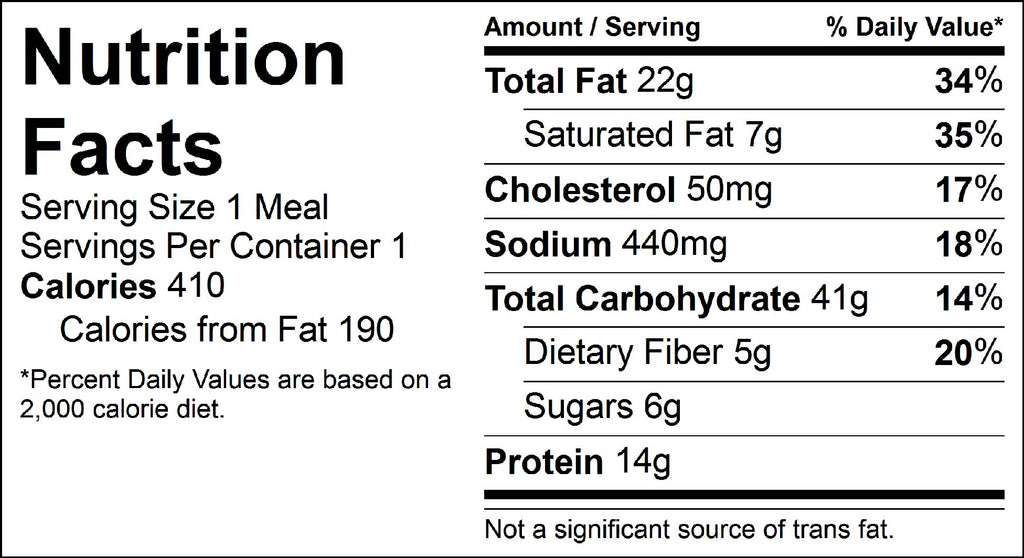 bean and veggie quesadilla nutrition facts