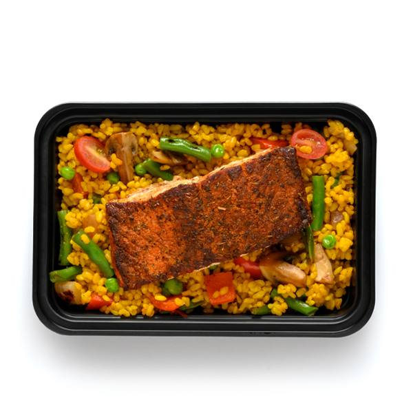 blackened salmon packaged overhead
