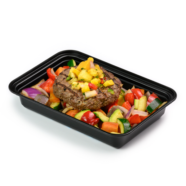burger and mango salsa packaged