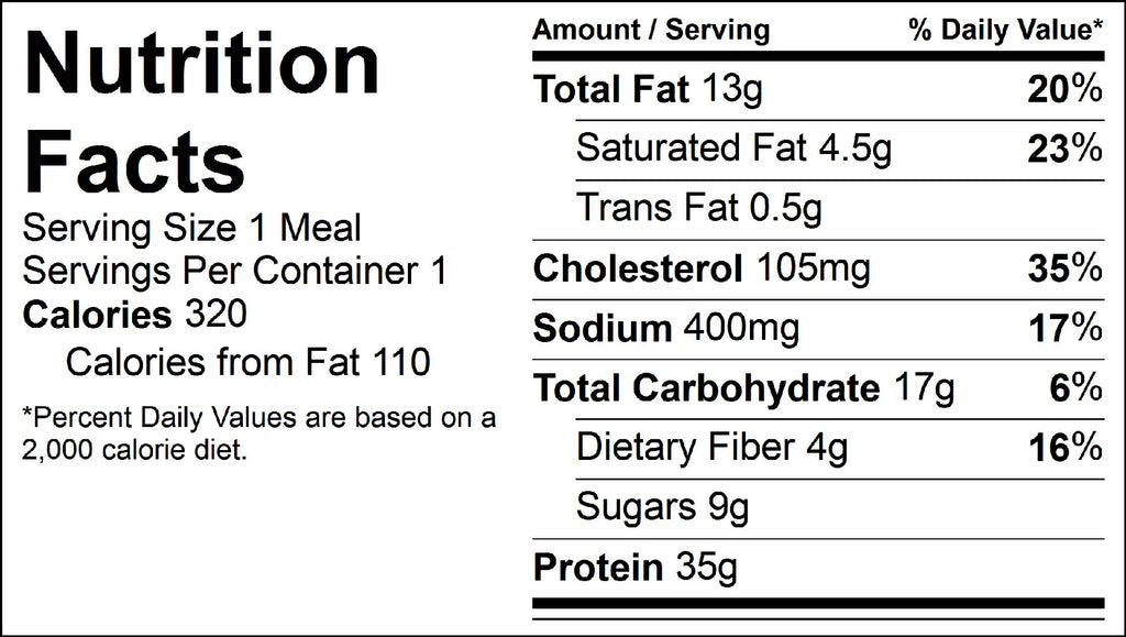 burger and mango salsa nutrition facts