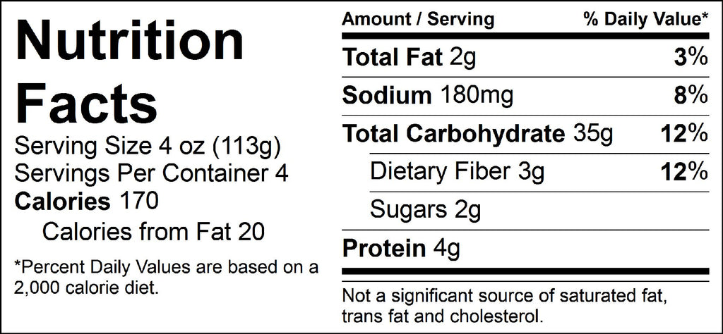 carb load bulk spanish rice nutrition facts