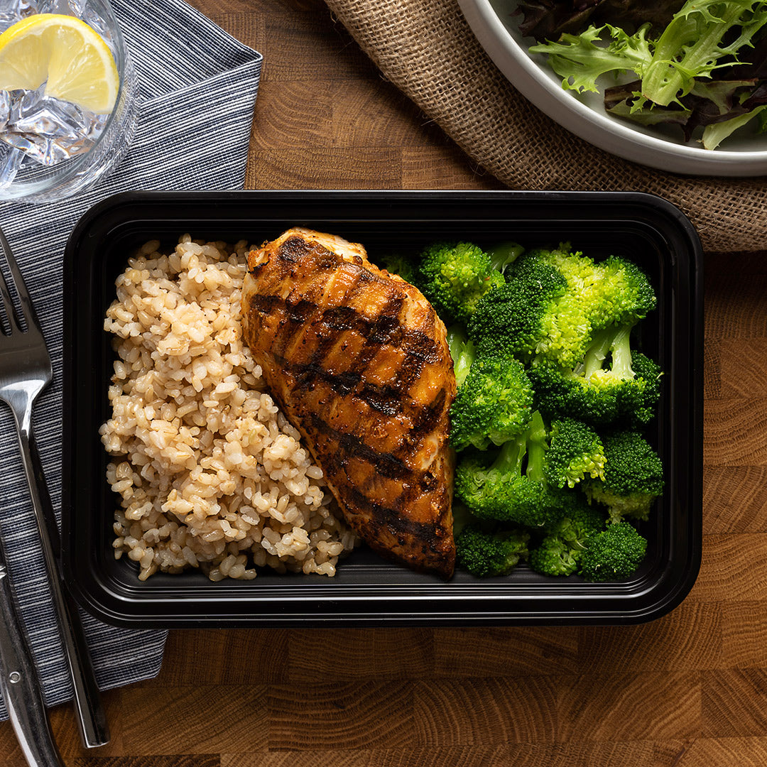 chicken broccoli rice overhead