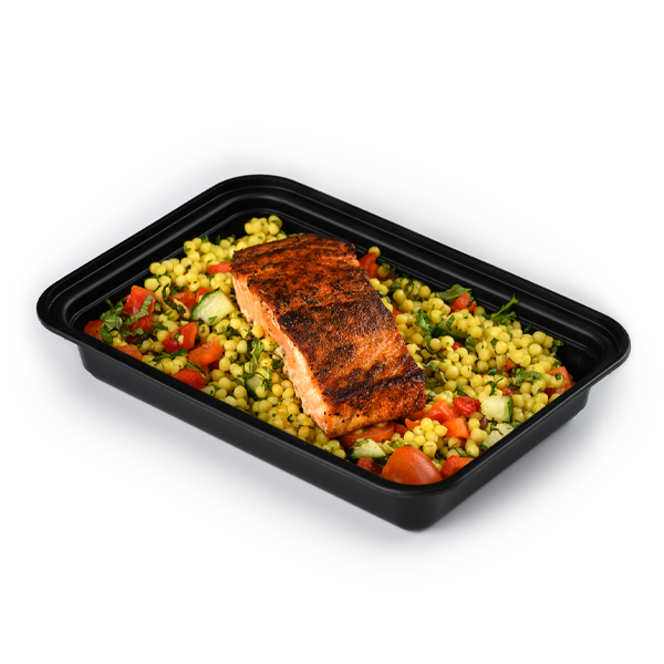 blackened salmon and rice packaged
