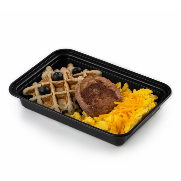 blueberry waffles and sausage in container
