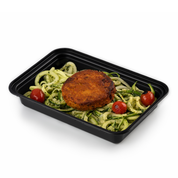 salmon cake and pesto zoodles in container