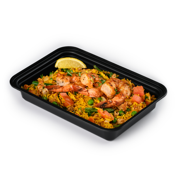 shrimp paella packaged