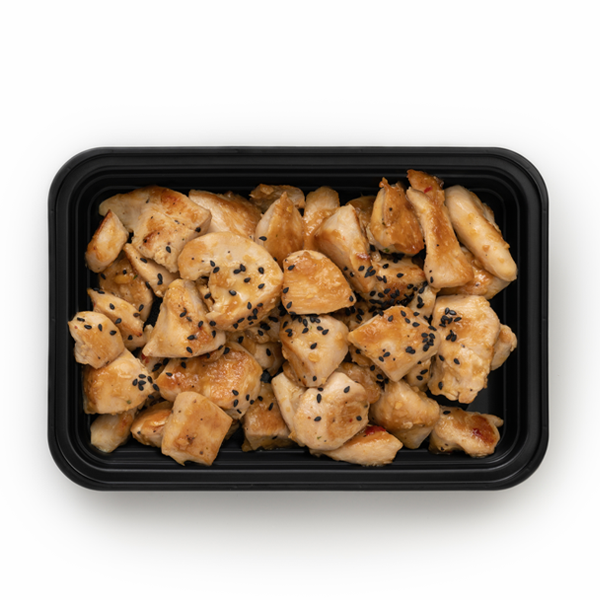 pure protein orange chicken in container overhead