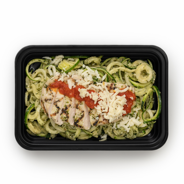 chicken margherita in container overhead