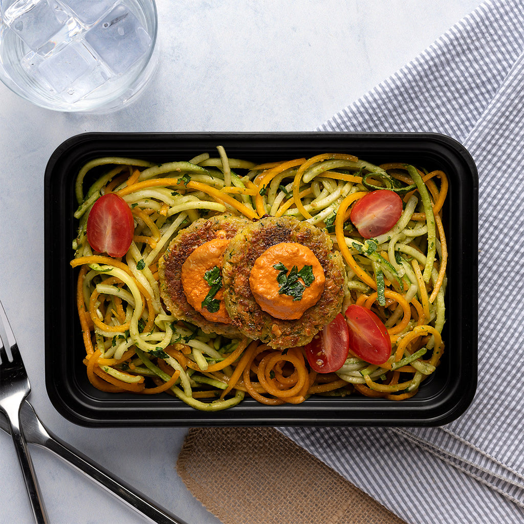 falafel and pesto zoodles