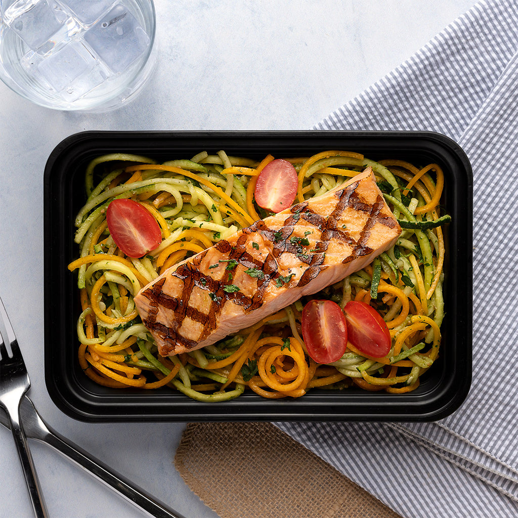 grilled salmon and pesto zoodles