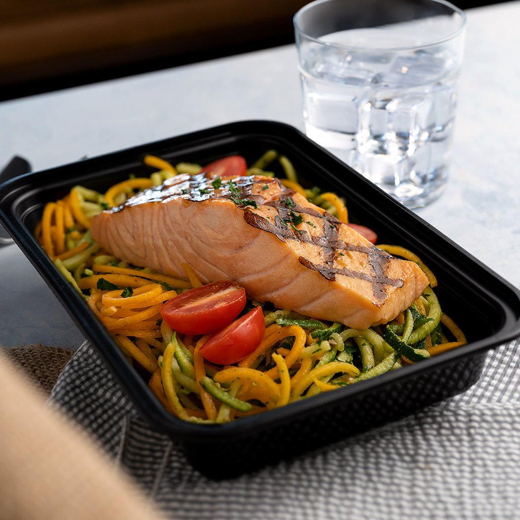 grilled salmon and pesto zoodles angle