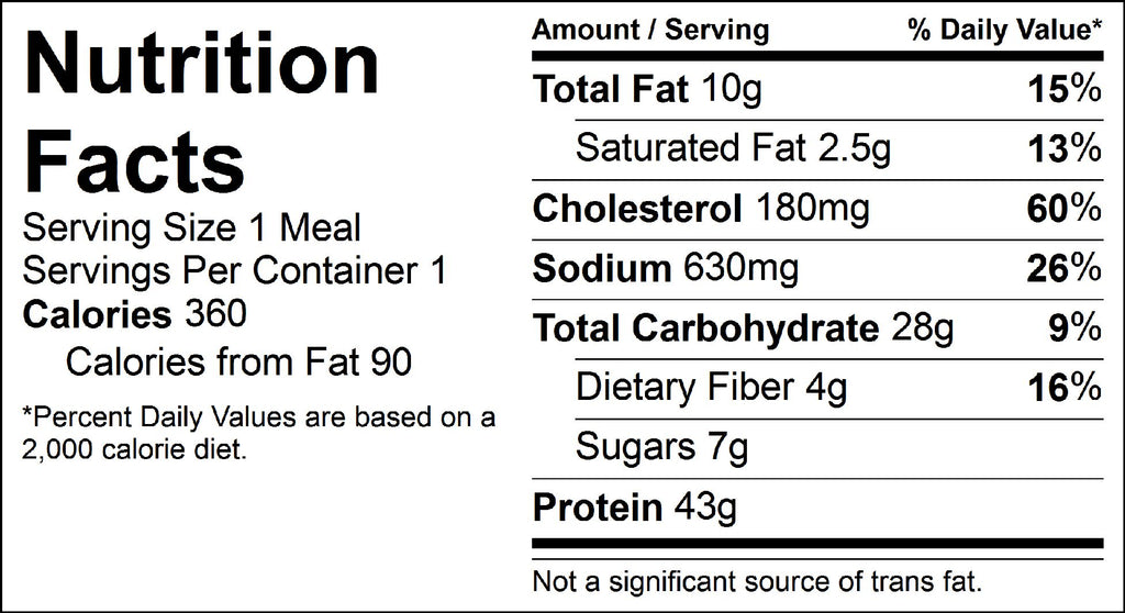 oriental meatballs nutrition facts