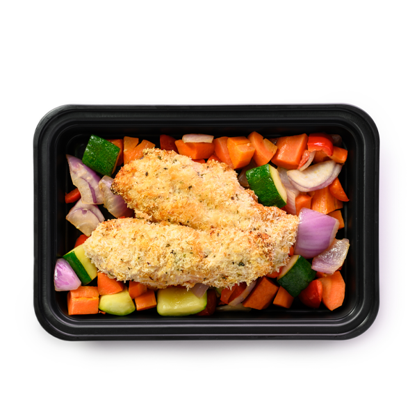 bbq chicken strips and veggies container overhead