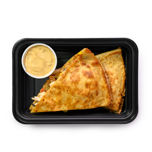 chicken and cheese quesadilla container overhead