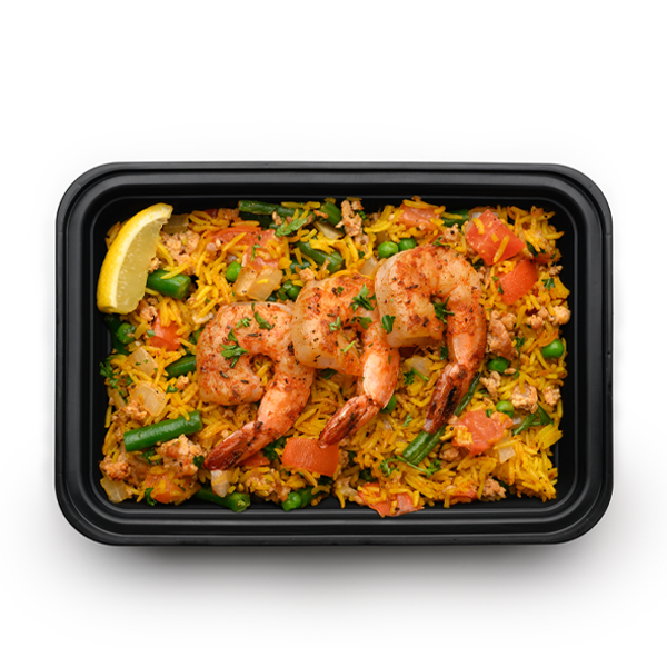 shrimp paella packaged overhead