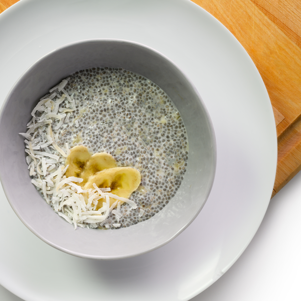 banana coconut chia pudding overhead