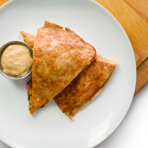 chicken and cheese quesadilla overhead