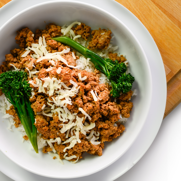 turkey sloppy joe bowl overhead