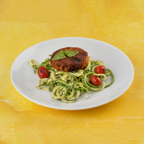 salmon cake and pesto zoodles