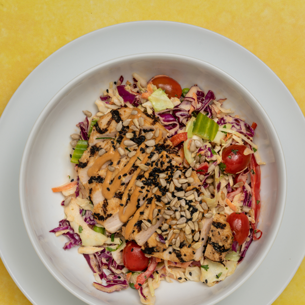 peanut chicken thai slaw overhead