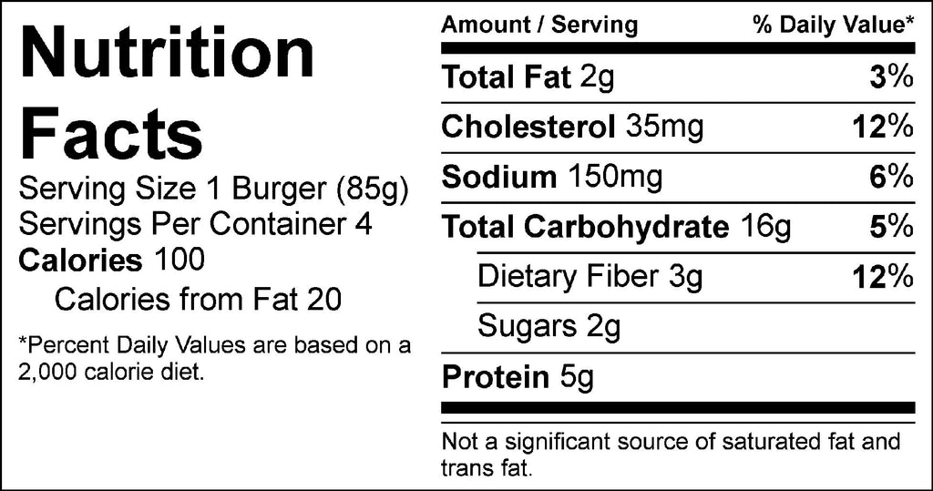 pure protein falafel burger nutrition facts