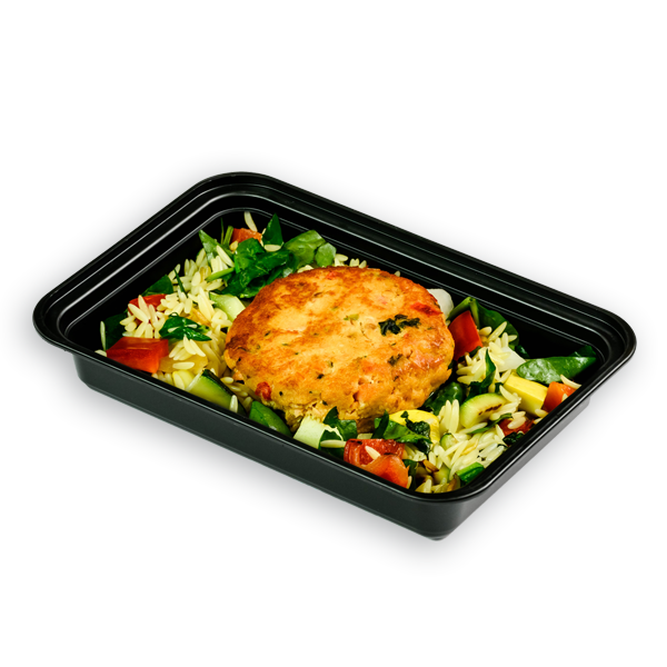 salmon cake and orzo packaged