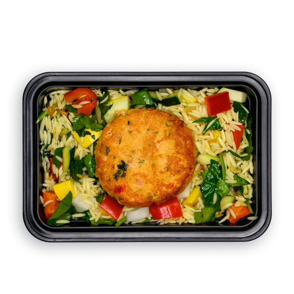 salmon cake and orzo overhead