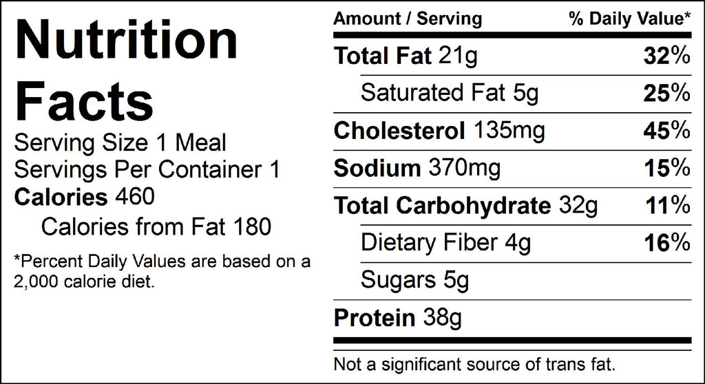 smothered chicken nutrition facts