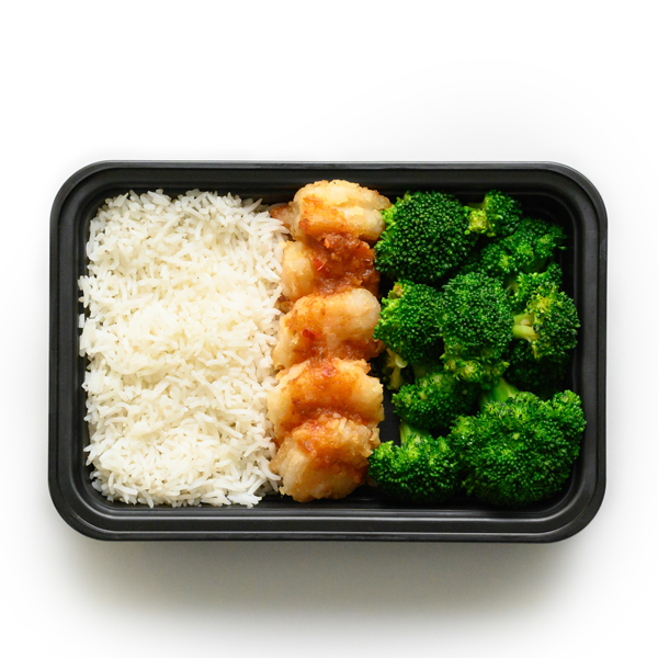 sweet and sour shrimp packaged overhead