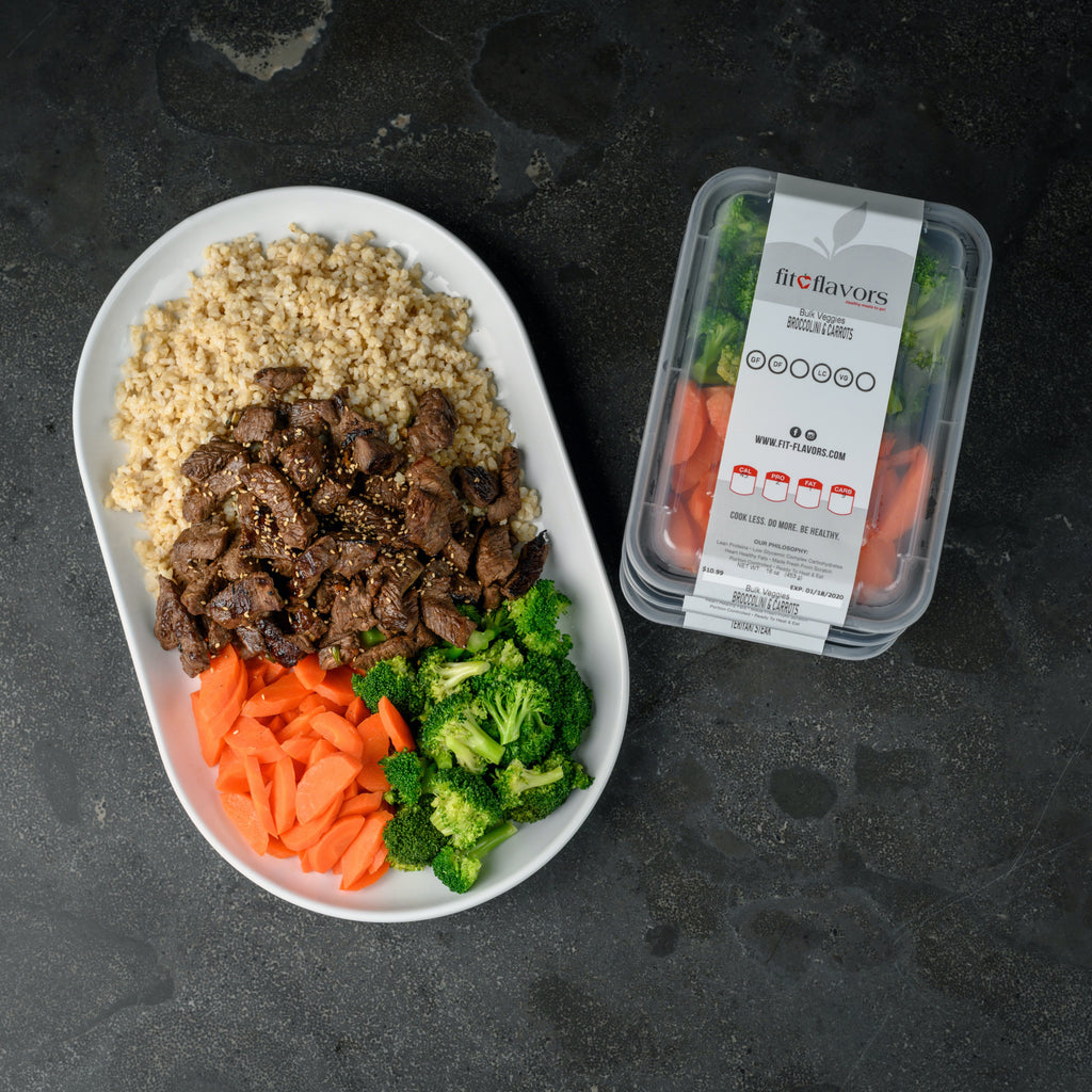 bulk veggies broccoli and carrots with teriyaki steak, brown rice