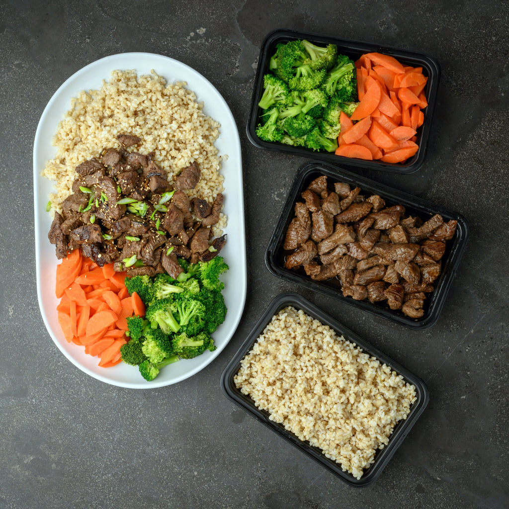 carb load brown rice with teriyaki steak, broccoli, carrots