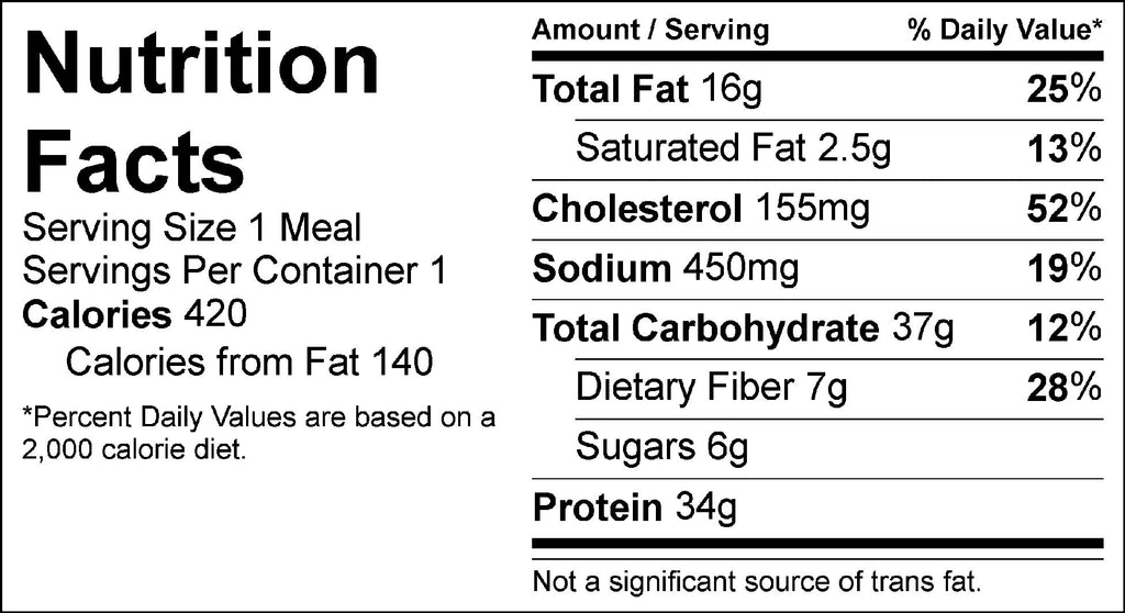 thai peanut shrimp nutrition facts