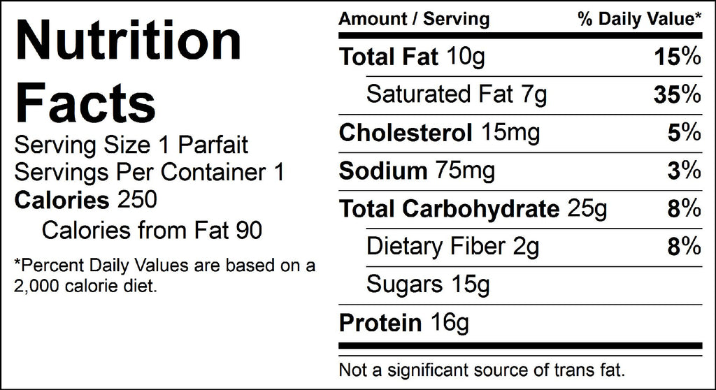 tropical parfait nutrition facts