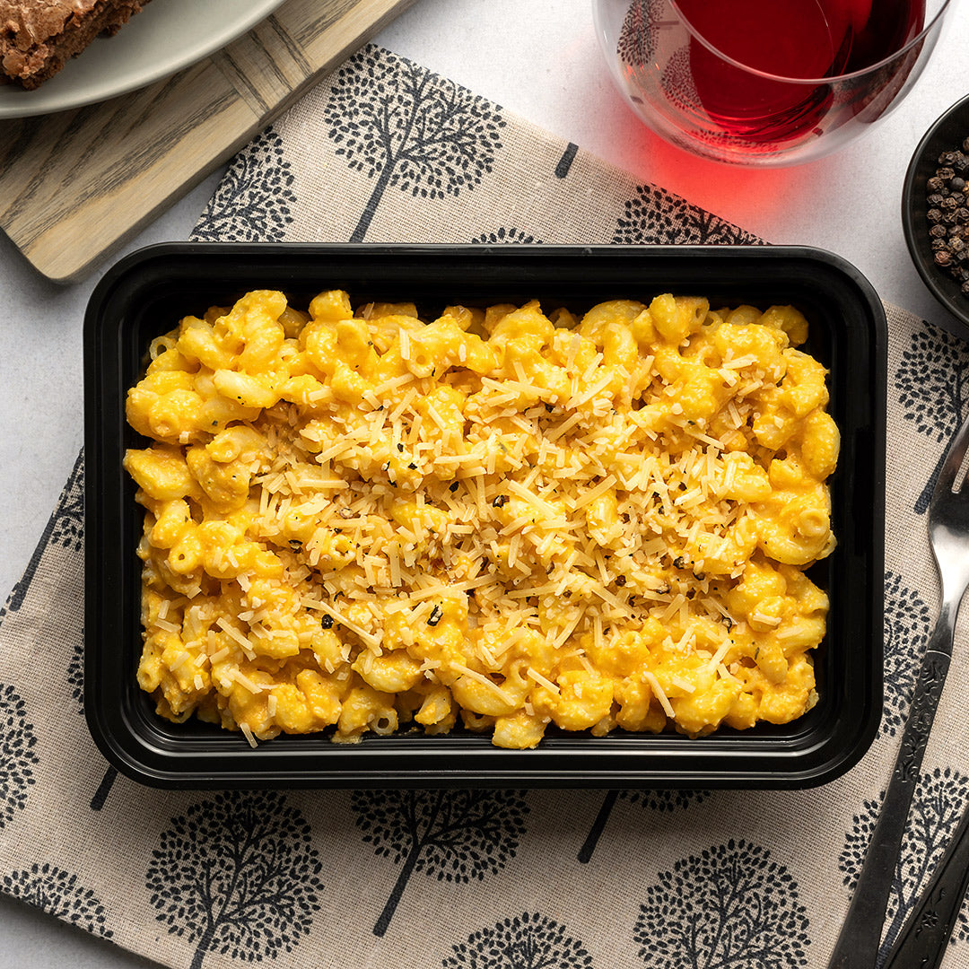 carb load vegan mac n cheese overhead