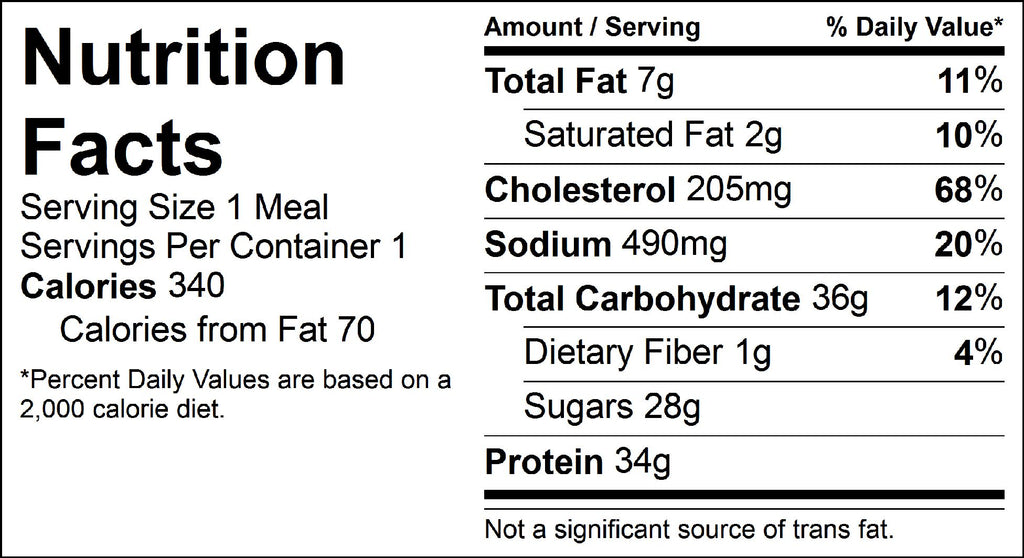 waffles and sausage nutrition facts label