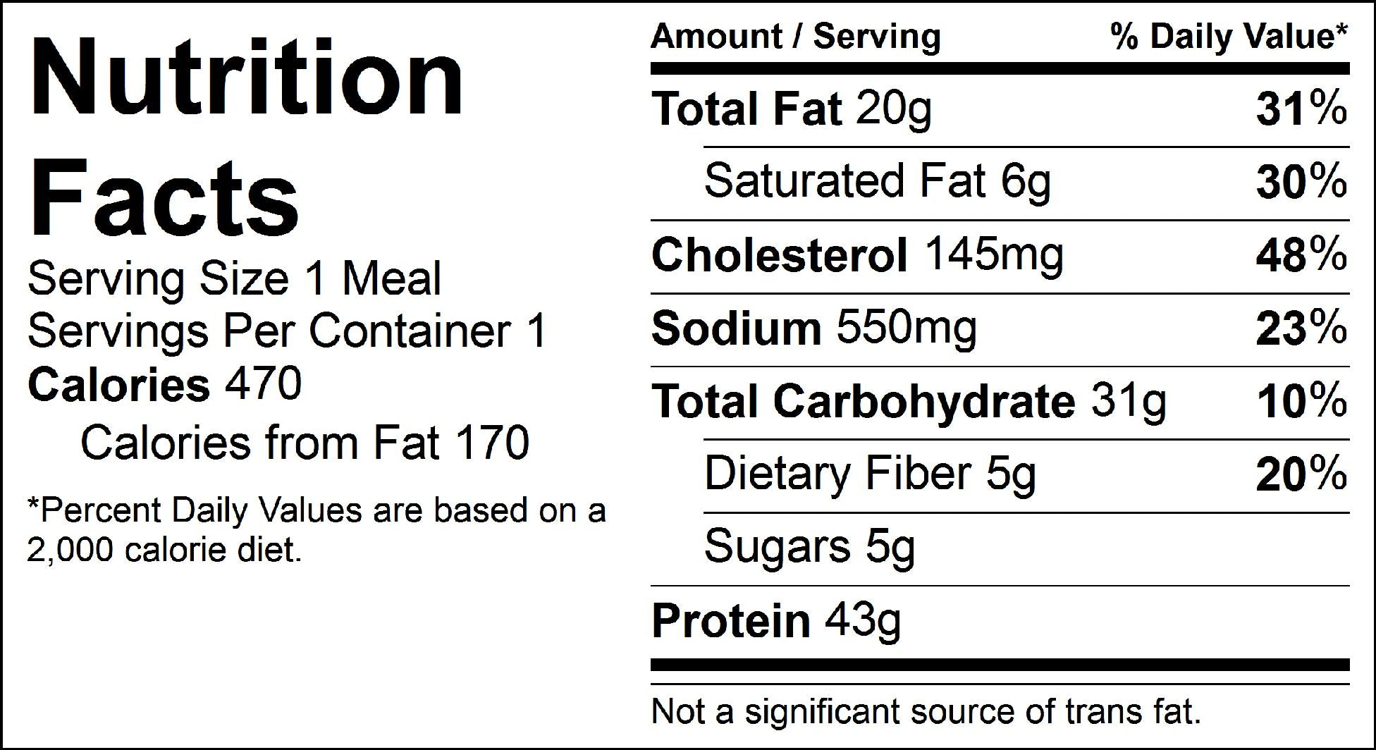 steak and loaded potatoes nutrition facts