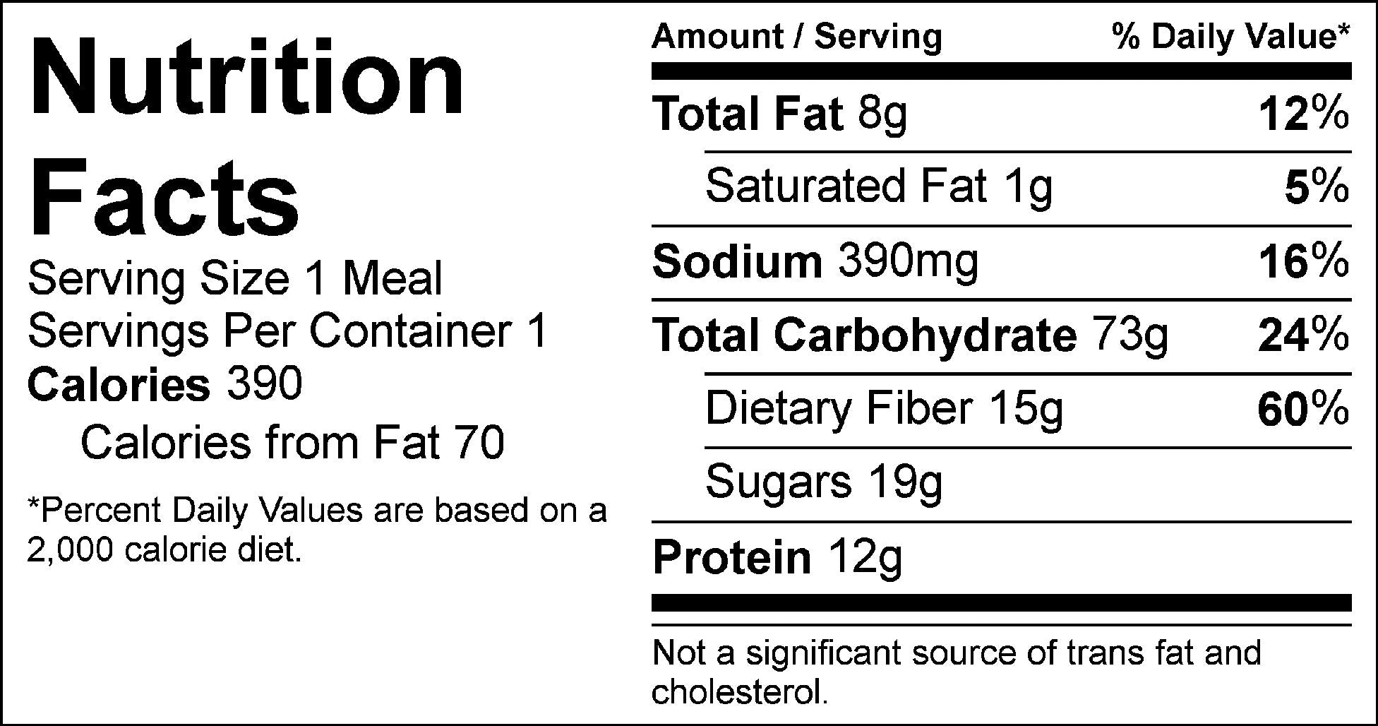 sweet honey bean burger nutrition facts