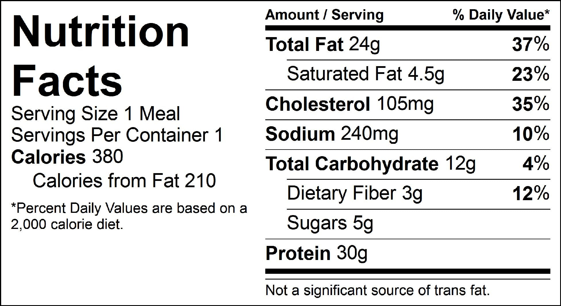 salmon cake and zoodles nutrition facts