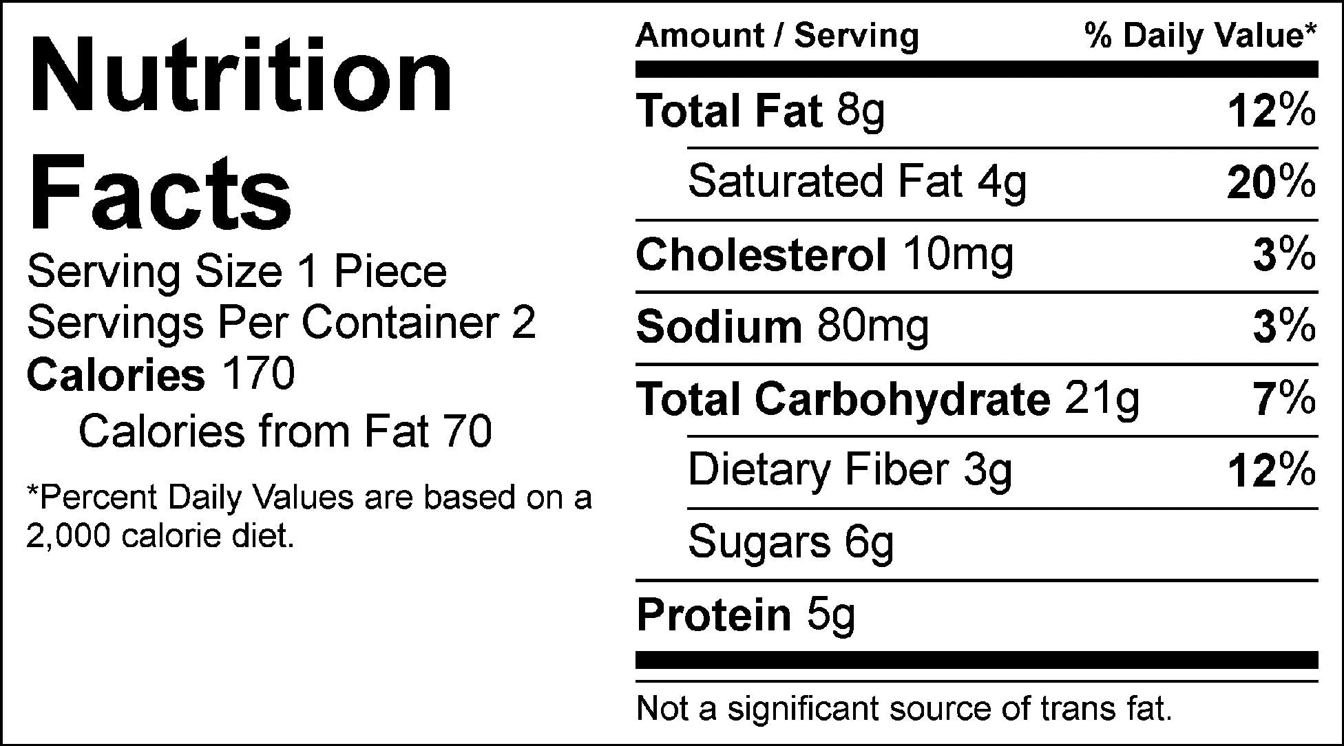 blueberry crumble bar nutrition label