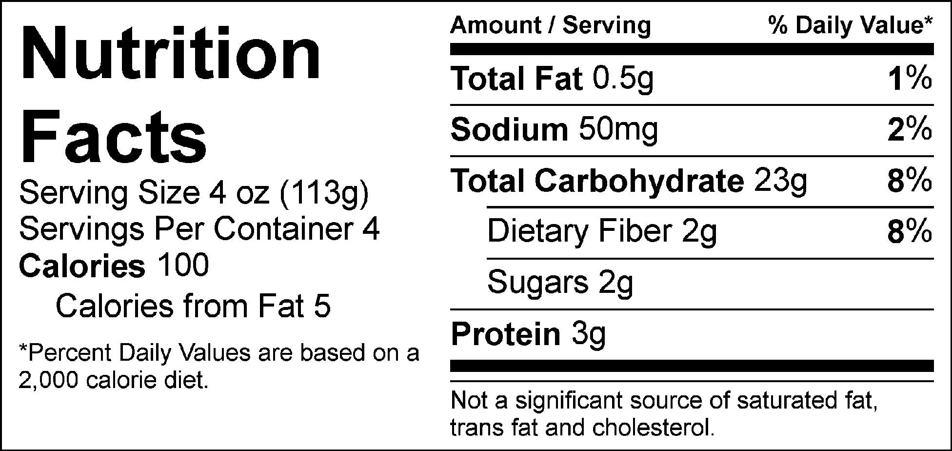 carb load roasted reds nutrition facts