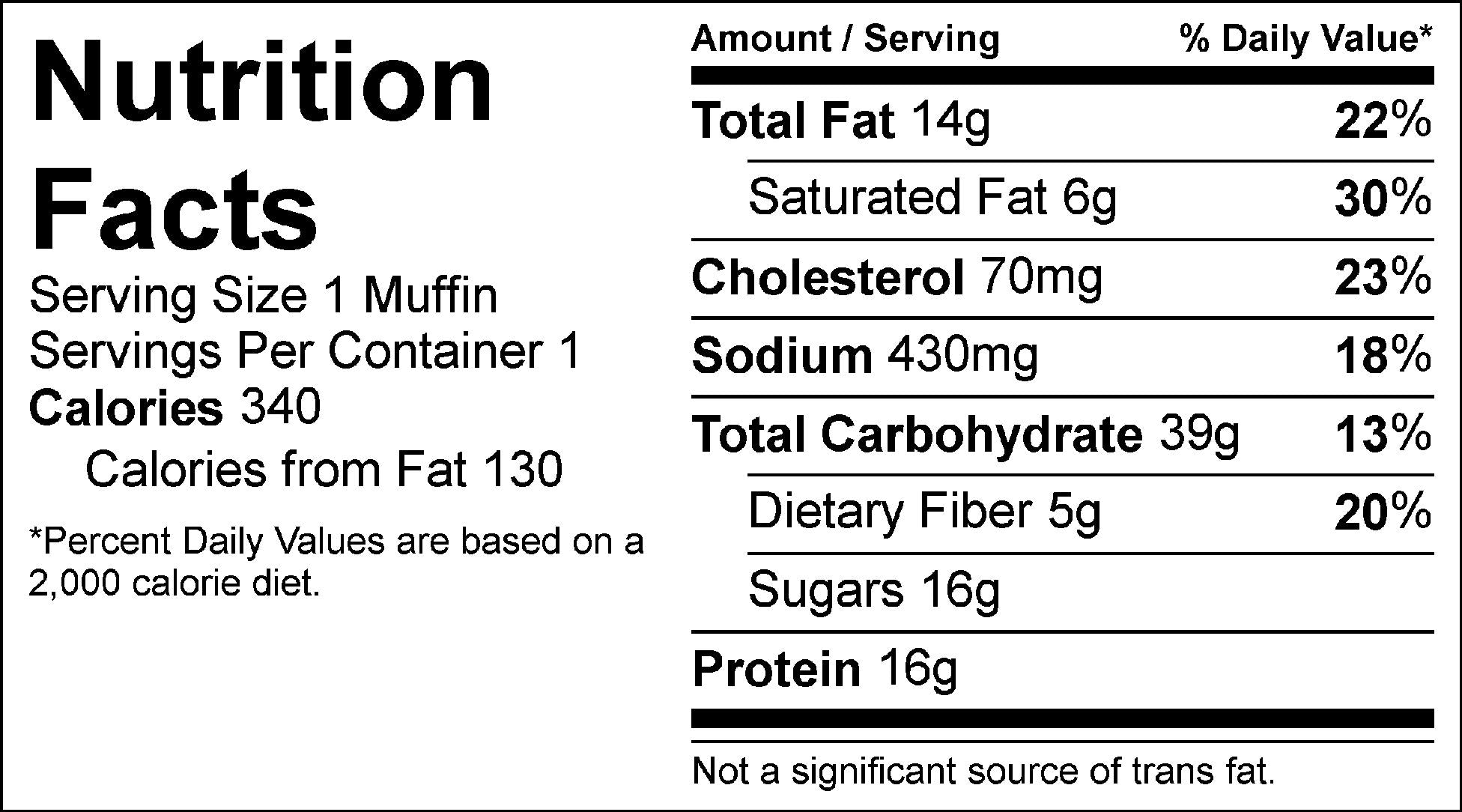 pumpkin chocolate chip muffin nutrition facts