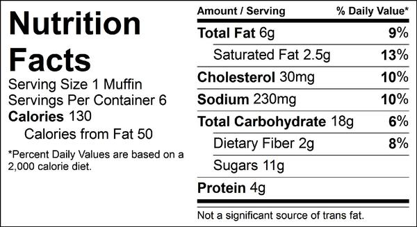 banana chocolate chip muffins nutrition facts