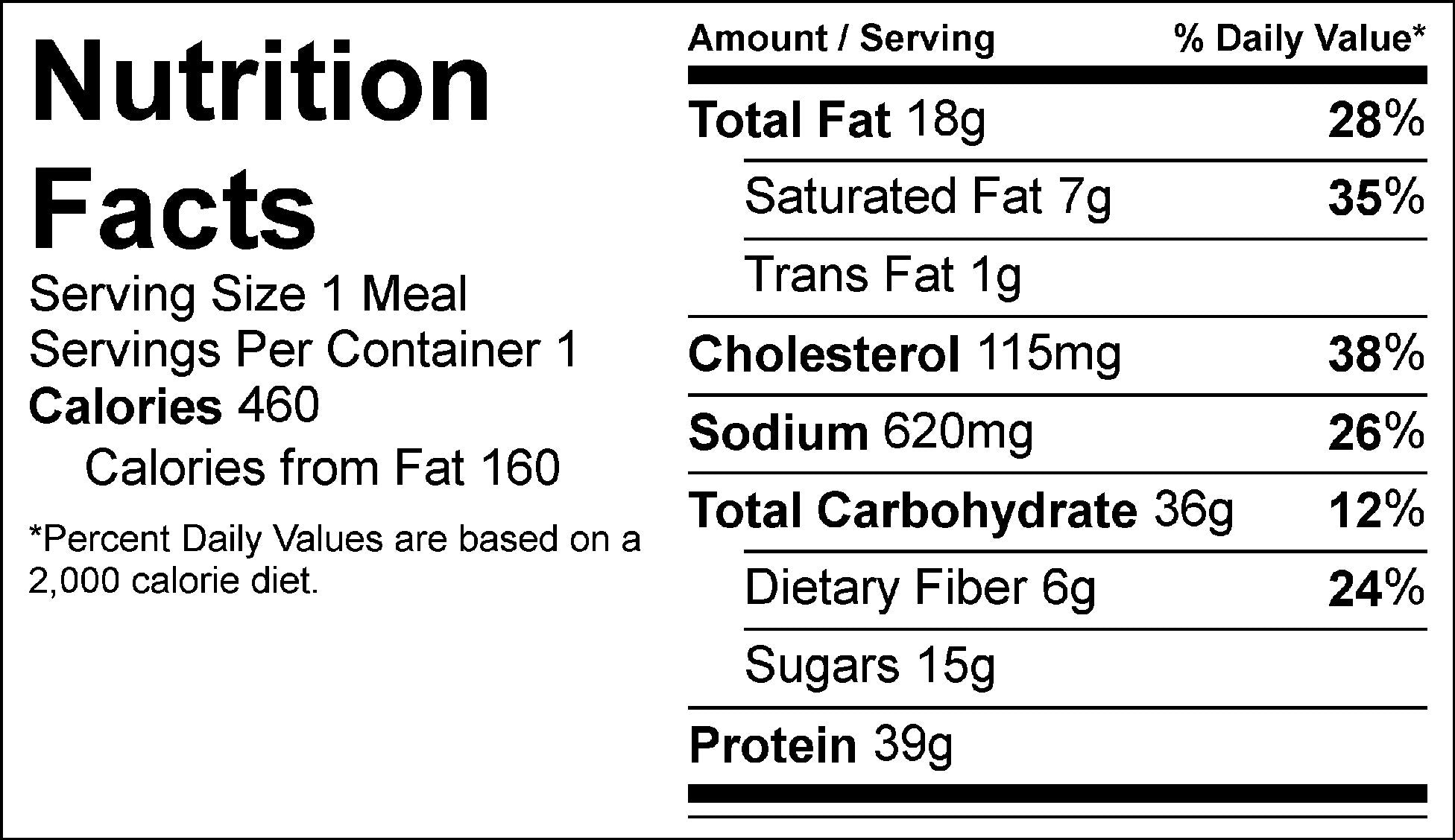 southern bbq burger nutrition label