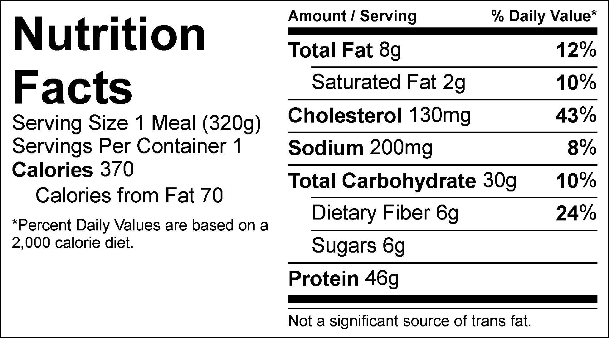 autumn chicken nutrition facts